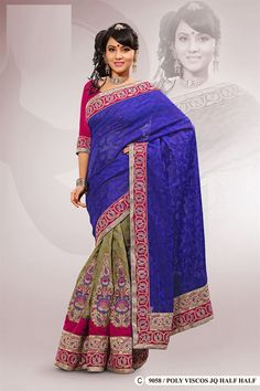 Blue Polyester Viscos Embroidered Saree With Blouse