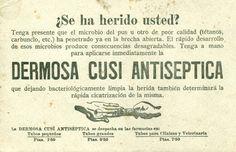 """""""Dermosa Cusi Antiséptica"""" [192.] Tarjeta de producto comercial en papel secante. AETNO CA 39.11"""