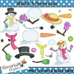 This set contains all the images you need to make your own snowmen, as well as a snowman and a snow-lady already made up. Each image is PNG and 300dpi in Black & White, colored with colored outlines and colored with black outlines