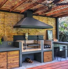 Covered pergola is a great addition to an outdoor kitchen. It protects your kitchen from the elements and takes your backyard design to a whole new level. Outdoor Kitchen Patio, Outdoor Pergola, Outdoor Kitchen Design, Patio Design, Backyard Patio, Outdoor Living, Outdoor Decor, Backyard Designs, Wooden Pergola