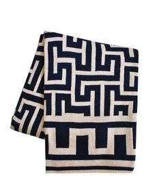 Greek Key Throw, Navy  Available for 195.00 100% Cotton