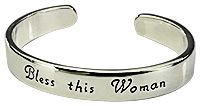 """""""Bless This Woman"""" Cuff Bracelet at The Breast Cancer Site. Share a simple blessing with your mother, your best friend, or any woman whose positive influence is a cherished part of your life. Or wear yourself for a daily touch of inspiration. Our """"Bless This Woman"""" Cuff Bracelet is a constant reminder for its wearer that she is cherished."""