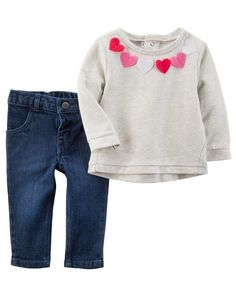 Baby Girl 2-Piece Felt Heart Top & Denim Jean Set from Carters.com. Shop clothing & accessories from a trusted name in kids, toddlers, and baby clothes.