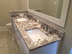 Granite Countertop Alaska White Granite Vanity Countertop by Luxury Countertops Brick Bathroom, Granite Bathroom, Bathroom Tile Designs, Bathroom Layout, Small Bathroom, Master Bathroom, Bathroom Ideas, Vanity Countertop, Granite Countertops