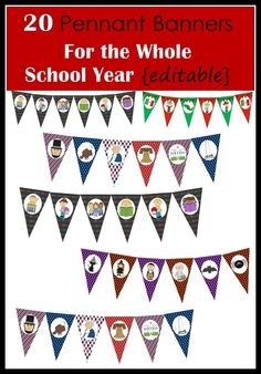 Decorate your classroom with these 20 pennant banners. The best part is that this packet is editable so you can add your own words to the banner, meaning that you can customize it to say whatever you want! Simply click on each pennant flag with a text box and type your own message. Print on card stock, laminate, cut out, and hang around your classroom.