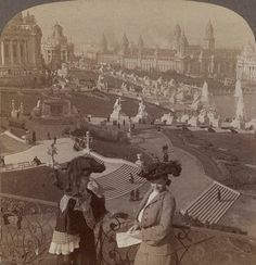 Women looking over the Grand Basin at the 1904 World's Fair in St. Louis...