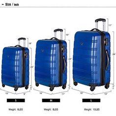 3 Piece Spinner Luggage Set Lightweight Expandable Hardshell Suitcase Combo Lock   Blue
