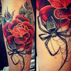 Spider and rose tattoo, love the design on the spider.