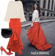 El look de Paula Ordovás  Esta journalist, blogger y experta en moda española nos muestra su look apasionado para la semana de la moda en Milán