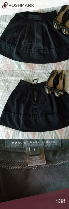 Marc Jacobs A Line Pleated Black Skirt Perfect Condition! Never worn! Marc by Marc Jacobs pleated skirt with pockets. Gold zipper closure.  Amazing quality, and a perfect skirt to wear year round! Retails for around  $200. This hits me around mid thigh. Size 4 Marc By Marc Jacobs Skirts A-Line or Full