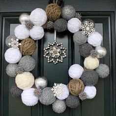 snowball yarn wreath