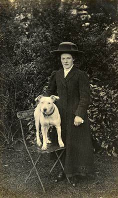 Kitty with the dog in 1912