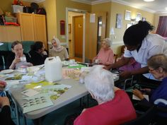 Our members go to a local care home once a week to do craft activities with the residents