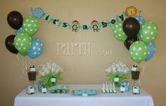 Monkey babyshower decor.....love the polka dot balloons!