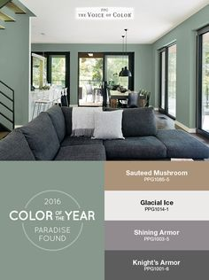 The PPG Voice of Color®, 2016 Paint Color of the Year Paradise Found is featured in this living room balanced with natural wood & subtle black matte metals. Create depth in your space by pairing the aloe green hue with mid-tone grays and muted browns.