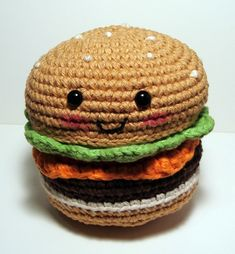Nerdigurumi - Free Amigurumi Crochet Patterns with love for the Nerdy » » Amigurumi No-Sew Hamburger or Cheeseburger