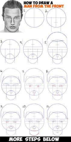 Learn How To Draw A Handsome Man S Face From The Front View Male Easy Step By Step Drawing Tutorial Face Drawing Tutorials For Beginners Drawing People Faces