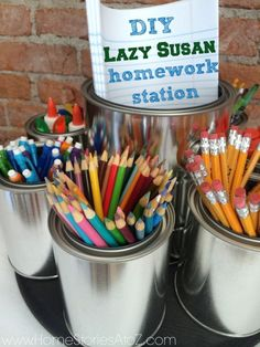 DIY lazy susan homework station. Very easy to make and keeps all school supplies organized at home.