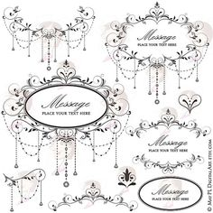 Flourish Frames Clipart Digital Swirls Vector DIY Wedding Save The ...