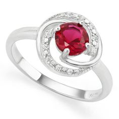 2.33ctw Ruby & White Sapphire Solid .925 Sterling Silver Ring SSIL8961…