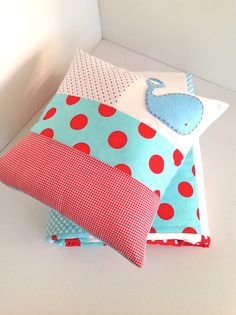 Whale Baby Quilt and Cushion in red white and aquamarine blue-Made to order