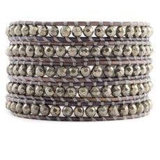 Pyrite Wrap Bracelet on Natural Grey Leather Chan Luu