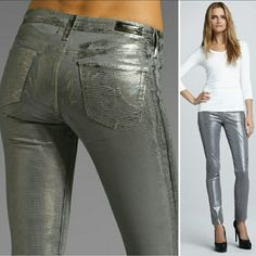 """New AG legging geometric silver foil gray jeans 28 New with tag $225 metallic silver printed super skinny fit the legging jeans by AG adriano goldschmied. Size 28. No trade please. The price is firm. Take a shine to these super-skinny AG Adriano Goldschmied jeans. Legging cut in geometric gray metallic foil print with tonal stitching throughout. Fitted through skinny legs. AG signature stitching on back. Grey jean leggings with allover triangular silver print. Cotton spandex blend. 31""""…"""