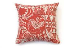 Bird Garden Cushion Square cushion in printed cotton fabric with beautiful lino cut print of Garden Birds in red and white by Mark Hearld. Silk Screen Printing, Printing On Fabric, Garden Cushions, Textile Prints, Lino Prints, Textiles, Printed Cotton, Printmaking, Crochet Projects
