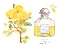 Vintage Guerlain perfume bottle and yellow roses watercolor print