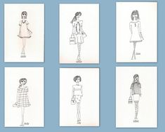 Rubber Stamps, Girls, Fashion Girls - Set of 6 - Save 20%