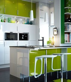 Like this green kitchen from ikea, think it will look good with the kitchen walls.