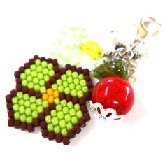Flower Garden Zipper Pull Charm Seed Bead Jewelry by HandmadeCute, $5.50