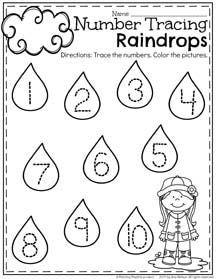 Preschool Number Tracing Worksheet for April.