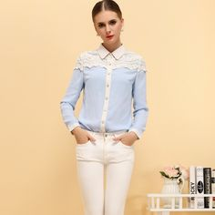 Newly Lace Splicing Peter Pan Collar Elegant Chiffon Blouse