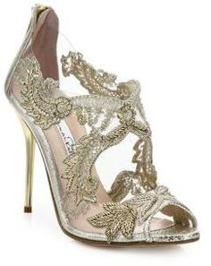 8b8a2d3f2c9e Oscar de la Renta Ambria Embroidered Metallic Peep Toe Sandals Nude Heeled  Sandals