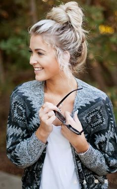 Cute Norwegian Style Cardigan - her hair and nails are pretty cute too