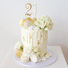Our most popular design for 2016 by far 💕💕 Happy off to celebrate at The Garden Beautiful roses Elegant Birthday Cakes, Beautiful Birthday Cakes, Beautiful Cakes, 21st Birthday Cakes, Gold Birthday Cake, Macaroon Cake, Cupcake Cakes, Cupcakes, 18th Cake