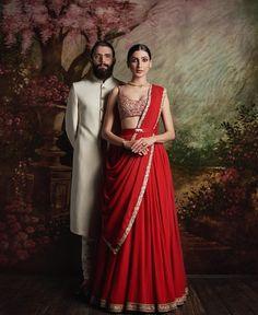 Blood red plain lehenga with embroidered blouse and signature Sabyasachi waist belt - Sabyasachi 2016 Plain Lehenga, Red Lehenga, Bridal Lehenga Choli, Anarkali, Lehenga Gown, Patiala Salwar, Indian Bridal Wear, Indian Wedding Outfits, Bridal Outfits