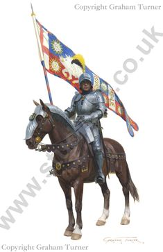 Battle of Bosworth August 1485 - Sir Percival Thirlwall proudly carries the standard of King Richard III Medieval Knight, Medieval Armor, Medieval Fantasy, Ancient Armor, Armadura Medieval, Edward Iv, Military Art, Military History, Knights Templar