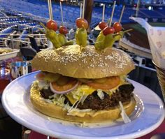 The 8-Pound StrasBurger is a gigantic beef burger that is available on the concessions at Nationals Park in Washington.