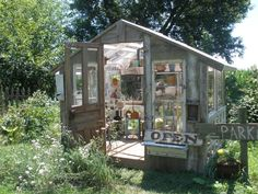 Garden shed made from old doors and windows