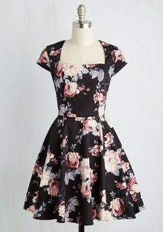 Cornerstone of Classy Dress in Black Bouquet, #ModCloth