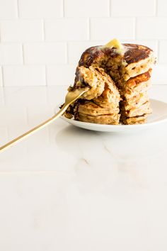 One Bowl Almond Butter Chocolate Chunk Pancakes