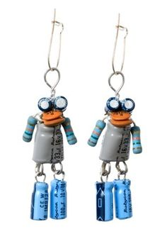 Recycled tech robot earrings! Want to make them!
