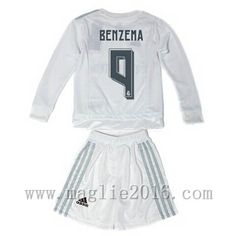 de19fb9eaa82c Home Maglia Manica Lunga Bambini Real Madrid BENZEMA 2015-16 €22.9