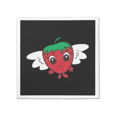Cute Strawberry Cartoon FlyBerry™ Kiddo Napkin -  World's coolest strawberry with wings, only available from FlyBerry™.           ... #custom #print on demand art themed #gift #taylorcorp  napkin design by #FlyBerry - #taylorcorp  #napkin #cutestrawberrycartoonflyberrykiddo #flyingstrawberrycartoon #strawberrywithwingscartoon #superfruitstrawberrieswithsuperpower #flyingobjectstrawberry #happyberrystrawberryred #kawaiistrawberrywithwings #strawberrywithfacecartoon #angelberryangelstrawberry…