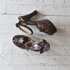 1940s shoes / alligator 40s platform heels / by DearGolden on Etsy, $164.00