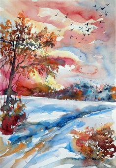 Autumn landscape, Watercolour painting by Kovács Anna Brigitta | Artfinder
