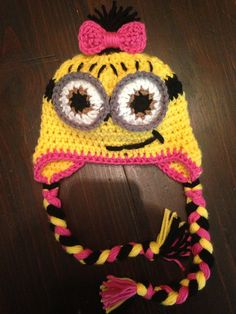 Pink Girl Minion Character Hat Earflap or Beanie by Evermicha