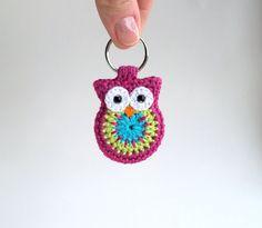 Crochet owl keychain owl keychain pink crochet owl by MikiJensen,
